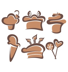 Cakes and sweets vector