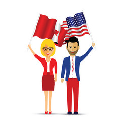 Canada and america flag waving couple vector
