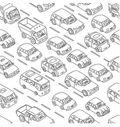 cars set freehand sketch traffic jam on road vector image