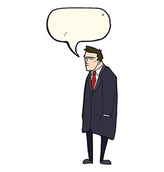 Cartoon bad tempered man with speech bubble vector