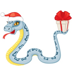 Cartoon serpent gives a gift vector