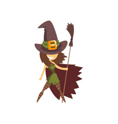 cute little witch character standing vector image