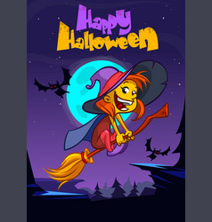 cute witch flying on her broom vector image