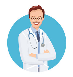 doctor in blue circle on white background vector image