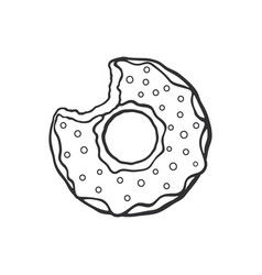 Doodle bitten donut with glaze and powder vector