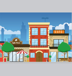 Downtown shopping street in clean flat style vector