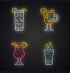 Drinks neon light icons set cocktail in highball vector