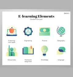 E-learning icons gradient pack vector