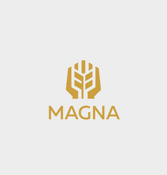 ear logotype grain wheat with hands logo vector image