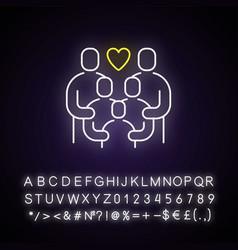 Family reunion neon light icon vector