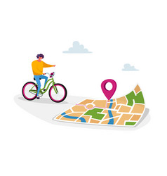 Female character riding bike use map smartphone vector