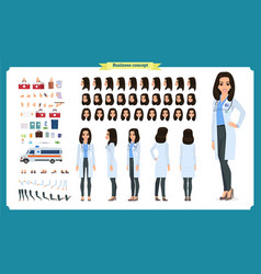female doctor character creation set vector image