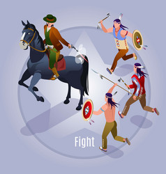 Fight with indians wild west vector