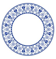 Folk art round ornamental frame scandinavian vector