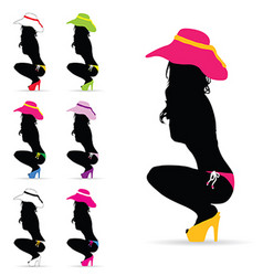 Girl fashion silhouette in colorful vector