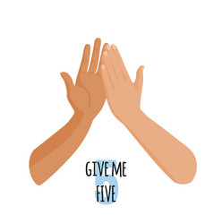 Give me five idea concept person touch hand of vector