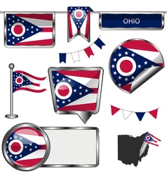 Glossy icons with ohioan flag vector