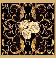 golden baroque scarf on a black background vector image