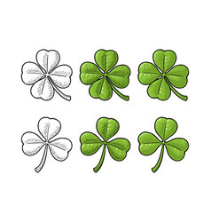 good luck four and three leaf clover vintage vector image