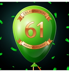 Green balloon with golden inscription sixty one vector