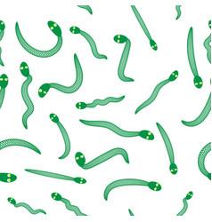 green snake seamless background animal pattern vector image
