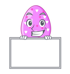 Grinning with board easter egg cartoon clipping on vector