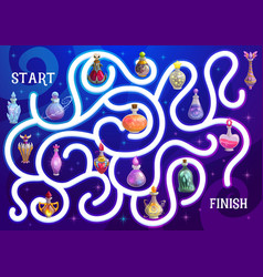 Halloween maze or labyrinth game with magic potion vector