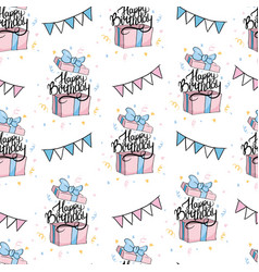 Hand drawn birthday seamless pattern with vector