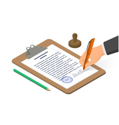 hand signing document on clipboard accompanied vector image