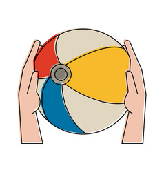 hands holding beach ball vector image