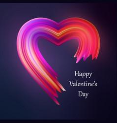 happy valentines heart liquid brush shape color vector image