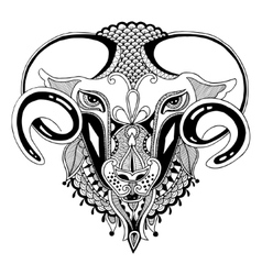 head goat symbol of 2015 year vector image