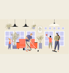 image a happy family doing house cleaning vector image