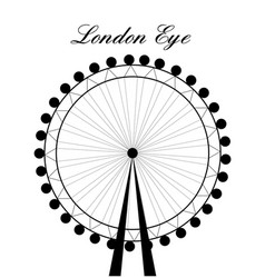 Image of cartoon london eye silhouette with sign vector
