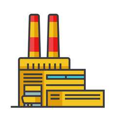 Industry factory industrial center flat line vector