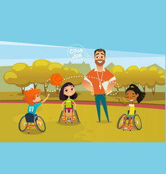 Joyful disabled kids in wheelchairs playing with vector