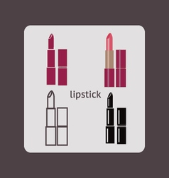Lipstick silhouette cosmetics Icons vector