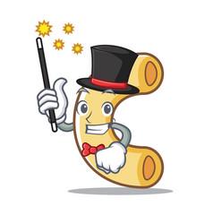 Magician macaroni mascot cartoon style vector