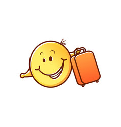 male smiley face emoticon sun umbrella vector image