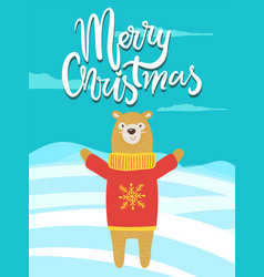 merry christmas banner congratulation from bear vector image