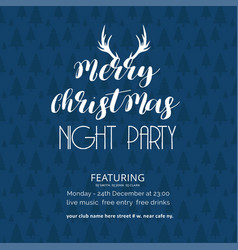 merry christmas night party tree background vector image