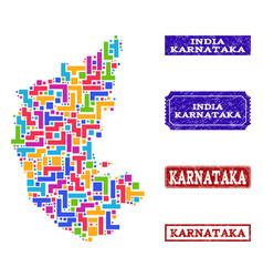 Mosaic map of karnataka state and grunge seals vector