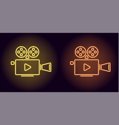 neon cinema projector in yellow and orange color vector image
