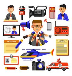 News icons of reporter cameraman vector