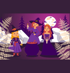 night coven flat character girl witch in magical vector image