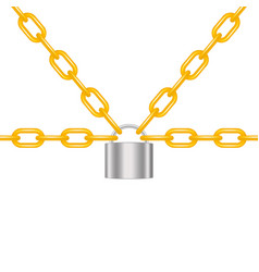 Orange chains locked by padlock in silver design vector