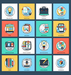 Pack of design and development flat icons vector