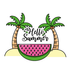 Palms with coconuts and watermelon slice vector
