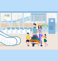 parents and kids in airport pushing baggage cart vector image