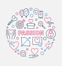 passion round in thin line vector image